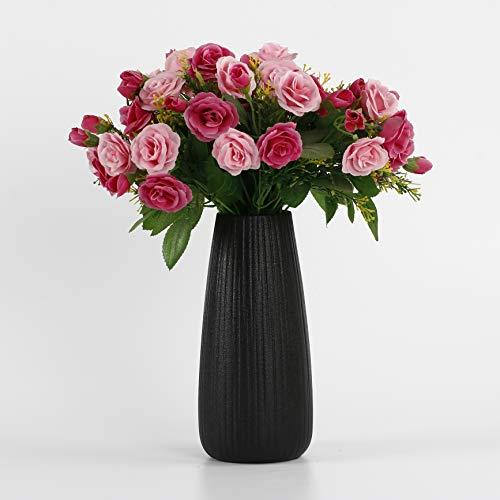 Yadass Blumenvasen Schwarz, Keramik Vase, Vasen für Pampasgras, Schwarz Vase für Wohnzimmer Tisch Zuhause Büro Deko- DIY Blumenarrangement (C)