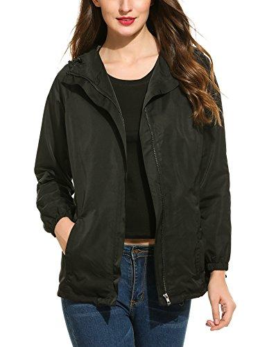 Zeagoo Rain Jacket Women Waterproof with Hood Lightweight Raincoat Outdoor Windbreaker (X-Large, Black)
