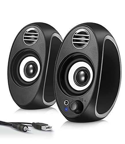 (Newest) LUSHINE PC Computer Speakers, 10W USB Powered 3.5mm Audio Input...