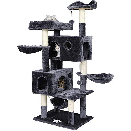 MSmask Kratzbaum für große Katzen, 173 cm Kratzbaum groß mit 2 Katzenhöhlen Stabiler Katzenbaum mit Sisal-Kratzstangen, 2 Plattformen, 2 Korb, Hängematte, Plüschball (Dunkelgrau)