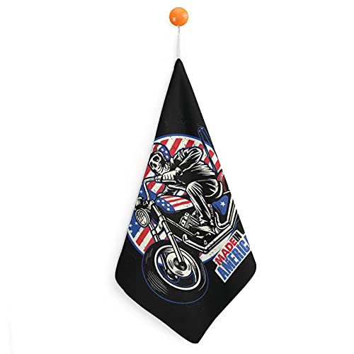 Toalla de mano colgante para niños Toallas de microfibra suave para niños Toalla de bebé ultra absorbente de secado rápido para niños Cocina Baño Bandera Americana Motocicleta