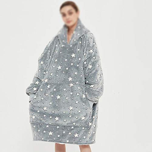 NXYJD Giant Blanket Hoodie Wearable Soft Fleece Blanket Plaid Sweatshirt Home Oversized TV Hooded Blanket With Sleeve (Color : C)