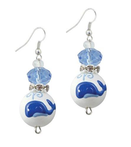 Clementine Design Kate & Macy Whale Watching Ocean Earrings Painted Glass Rhinestones