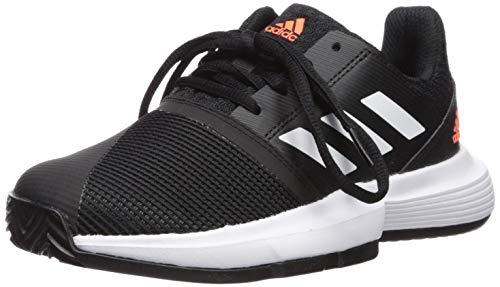adidas Unisex-Kid's CourtJam Tennis Shoe, Black/White/hi-res Coral, 1 M US Little Kid
