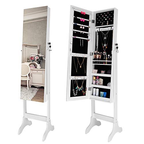 Ezigoo Schmuckschrank mit Spiegel und verstellbarem Ständer – Schließbares, weißes Schmuckregal mit rahmenlosem Spiegel