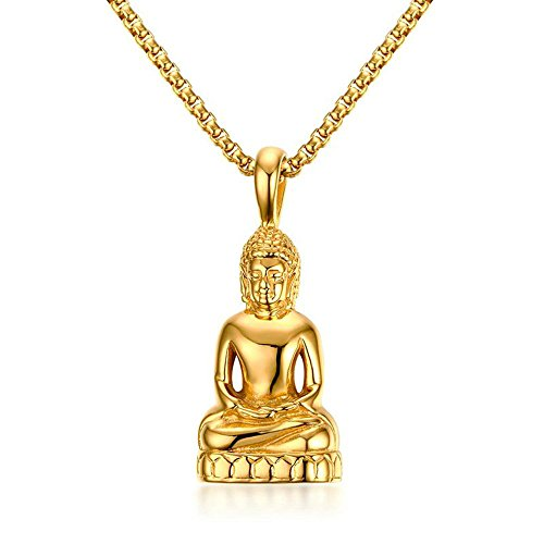 Onefeart Buddha Anhänger Halskette Vergoldet zum Damen Herren Buddhistischen Amulet Talisman