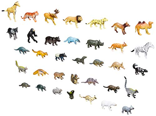 Click N' Play Mini Animal Figurine Counters Playset, Assorted Set of 60
