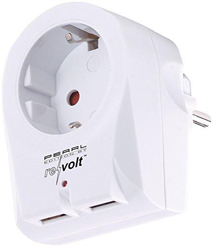 revolt Chargeur USB :adaptateur de prise 2 in1 à 2 ports USB, 2,1 A, protection anti-surtension (prise de charge)