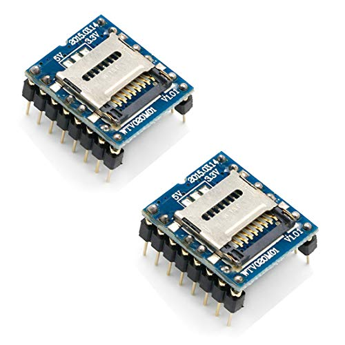 WTV020-SD U Disk Audio Player MP3 Sound Modul Voice Modul mit SD-Kartenslot UART 232 für Arduino, 2 Stück