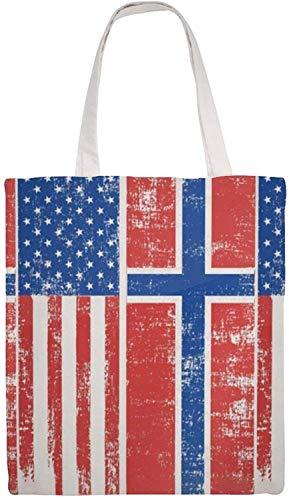 MODORSAN Borsa a tracolla in tela con bandiera norvegese americana, borse in stoffa riutilizzabili per la spesa, borse tote con stampa fronte-retro