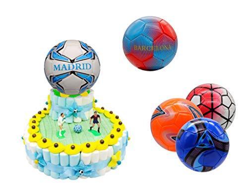Original Tarta Infantil Decorativa de Golosinas 2 Bases + Balón en Bolsa Celofán. Dulces. Juguetes y Regalos. Decoración para Cumpleaños, Bodas, Bautizos y Comuniones.DC (BALÓN BARCELONA)