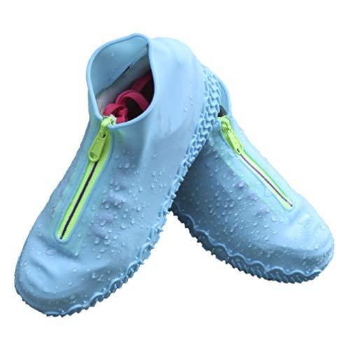 Artibetter Siliconen Waterdichte Overschoenen Herbruikbare Overschoenen Met Rits Regenlaarzen Antislip Schoenbescherming Maat Xl Blauw