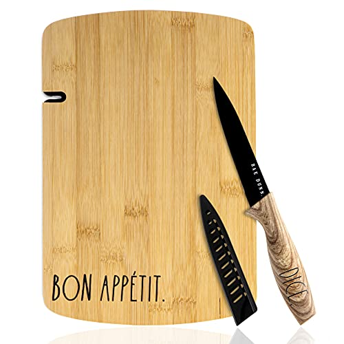 """Rae Dunn Collection 3 Piece """"Bon Appetit"""" Bamboo Cutting Board and Knife Set"""