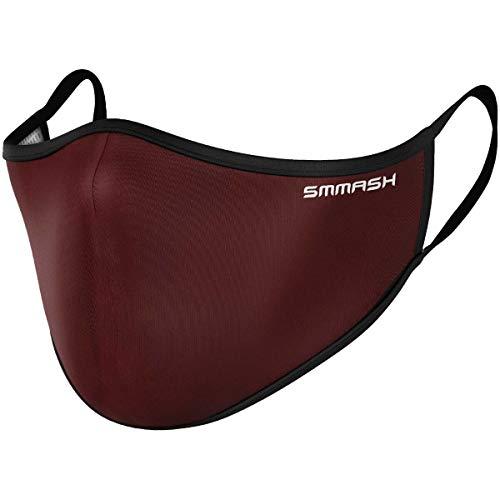 SMMASH Mundschutz Maske Wiederverwendbar, Hochwertiges Gesichtsmaske Waschbar, Multifunktional Trainingsmaske für Radfahren, Laufen, Staubschutzmaske für Damen, Herren (S/M, Burgundy)