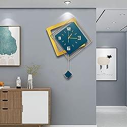 JUGV Large Modern Wall Clock,Non-Ticking Silent Quartz Square Wooden Pendulum Wall Clocks,Creative Art Design Hanging Wall Clocks for Living Room Decor Green and Gold