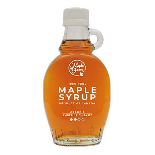 MapleFarm - Pur Sirop d'érable Catégorie A, Ambré - goût riche - 189 ml (250 g) - Original maple syrup - Grade A - Amber, rich taste - Sirop d'érable pur - Pancake sirop