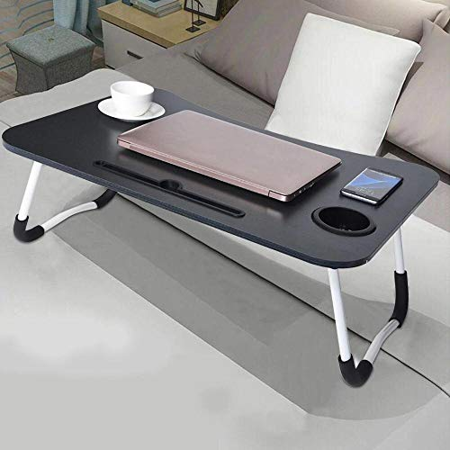 Qualimate Laptop Table Foldable Portable Adjustable Multifunction Study Lapdesk Table for Breakfast Bed Tray Office Work Gaming Watching Movie on Bed/Couch/Sofa/Floor with Cup Slot (Black)