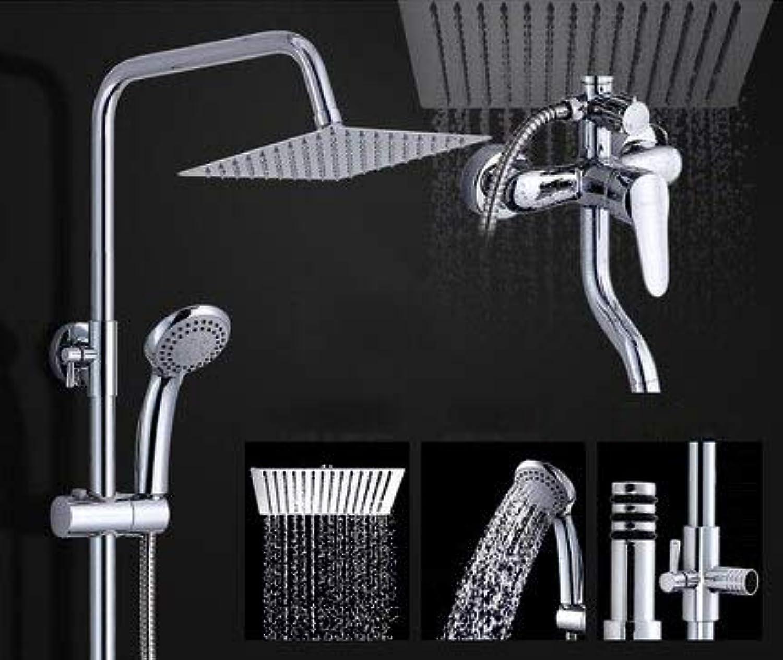 Badezimmer warmes und kaltes Wasser ABS Duschset Vollkupfer ultradünne Booster-Funktion Messing-Mischbatterie Doppelgriffe Wandmontage, K