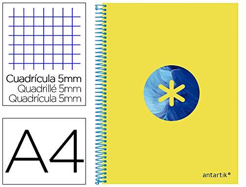 Cuaderno espiral liderpapel a4 micro antartik tapa forrada120h 100 gr cuadro 5 banda 4 taladros trending amarillo