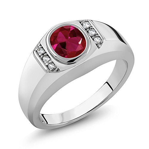 Gem Stone King Men's 925 Sterling Silver Red Created Ruby and White Created Sapphire Ring (1.21 Ct) (Size 10)