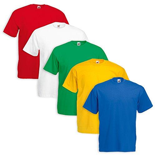 Set 5 T-Shirt Fruit Of The Loom (1 Bianco 1 Royal 1 Girasole 1 Rosso 1 Verde P - XXL - 7)