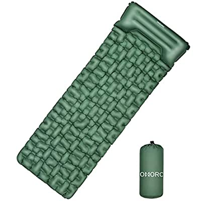 OMORC Camping Sleeping Pad, Inflatable Camping Mat with Built-in Pillow, Carry Bag and Repair Kit, Lightweight and Large Air Sleeping Mattress for Backpacking, Traveling, Hiking