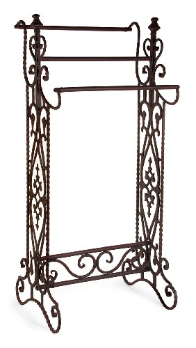 IMAX 7781 Narrow Quilt Rack – Three Bar Wrought Iron Stand, Floor Display Stand for Living Room, Bathroom, Compact Towel Rail. Home Decor Accessories