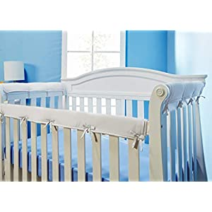 Everyday Kids Padded Baby Crib Rail Cover Set- Crib Rail Teething Guard – 3-Piece Front and Side Padded Rail Cover- with Sewn Ties for Secure Fit – White Soft Microfiber Polyester