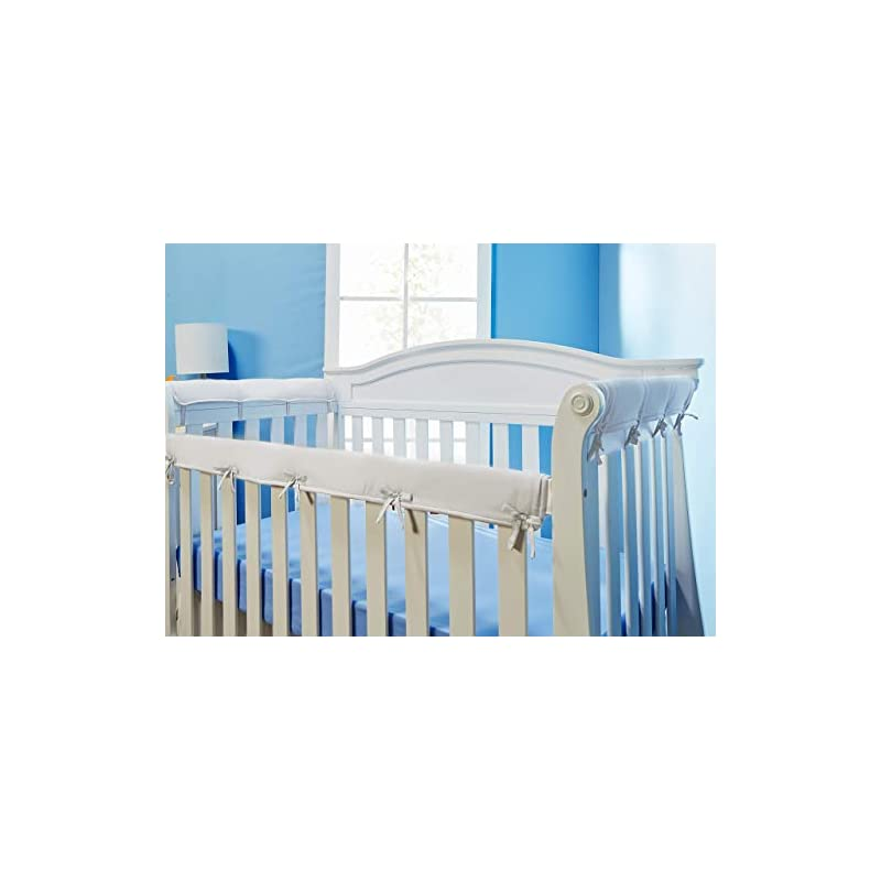 crib bedding and baby bedding everyday kids padded baby crib rail cover set- crib rail teething guard - 3-piece front and side padded rail cover- with sewn ties for secure fit - white soft microfiber polyester