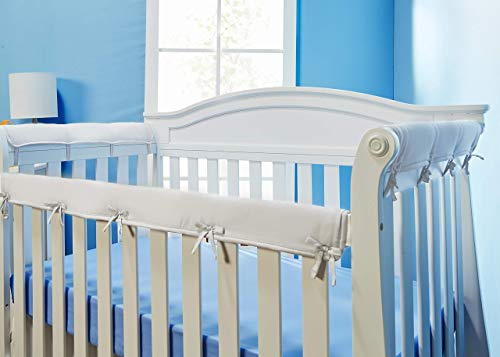 Everyday Kids Padded Baby Crib Rail Cover Set- Crib Rail Teething Guard - 3-Piece Front and Side Padded Rail Cover- with Sewn Ties for Secure Fit - White Soft Microfiber Polyester …