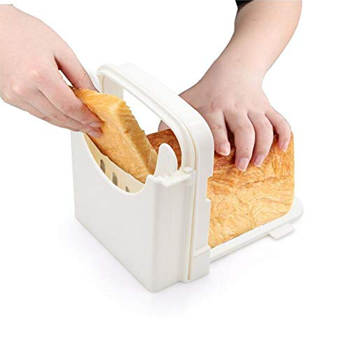 Adjustable Bread Slicer Guide for Homemade Bread Compact Foldable Bagel Loaf Cutter Box 5 Thickness Mold Sandwich Maker Toast Slicing Machine with Crumb Tray (White)