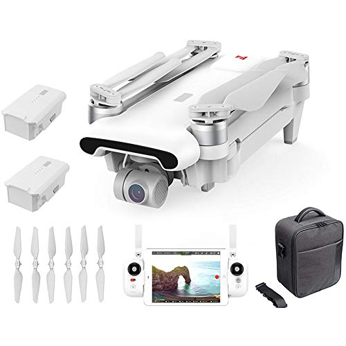 FIMI X8 SE 2020 Foldable Desgin Drone Kit 8km Range 4K Camera UHD 100Mbp HDR Video 70mins Flight Time FlyCam Quadcopter UAV GPS Tracking Smart Remote Controller, W Carry Bag & Dual Batteries (White)