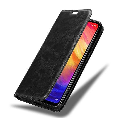 Cadorabo Hülle für Xiaomi RedMi Note 7 in Nacht SCHWARZ - Handyhülle mit Magnetverschluss, Standfunktion & Kartenfach - Hülle Cover Schutzhülle Etui Tasche Book Klapp Style