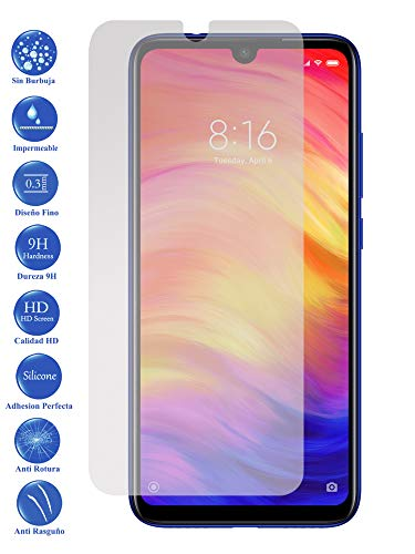 Todotumovil Protector de Pantalla Xiaomi Redmi Note 7 de Cristal Templado Vidrio 9H para movil