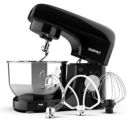 Kuppet Stand Mixers, 8-Speed Tilt-Head Electric Food Stand Mixer with Dough Hook, Wire Whip & Beater, Pouring Shield, 4.7QT Stainless Steel Bowl- Black