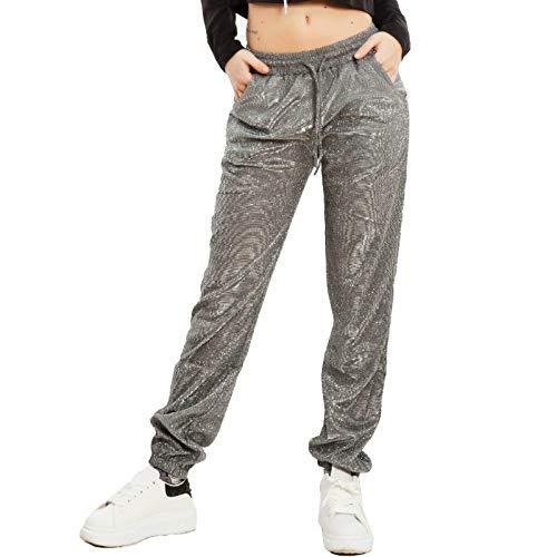 Toocool - Damen Hose Lurex Sportliche Glitzer Fitness Sport Schnürsenkel GG9199, Slim Fit, 85669-88-21-1, Silber, 85669-88-21-1 Small-Medium