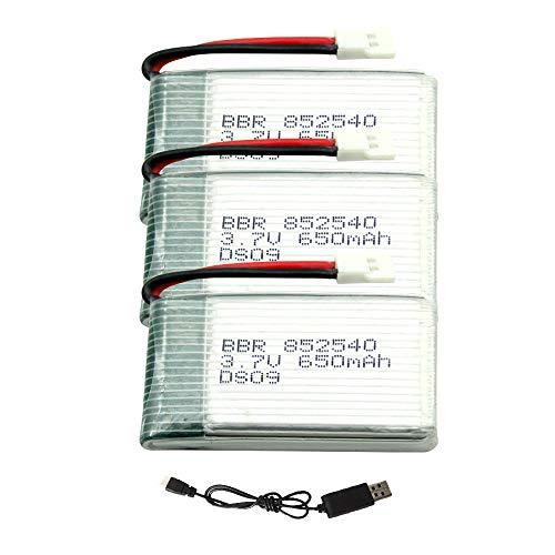 skrskr Batteria Lipo da 3,7 V 650 mAh 3 Pezzi e Cavo di Ricarica USB per Drone RC Syma Heliway Skytech Cheerson Holy Stone Walkera