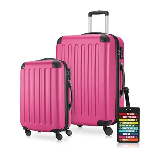 HAUPTSTADTKOFFER - Spree - Koffer-Set (1 x Handgepäck + 1 x Mittelgroßer Hartschalenkoffer Rollkoffer 65 cm, 74 Liter) + Kofferanhänger, erweiterbarer Reisekoffer, 4 Rollen, TSA, Magenta