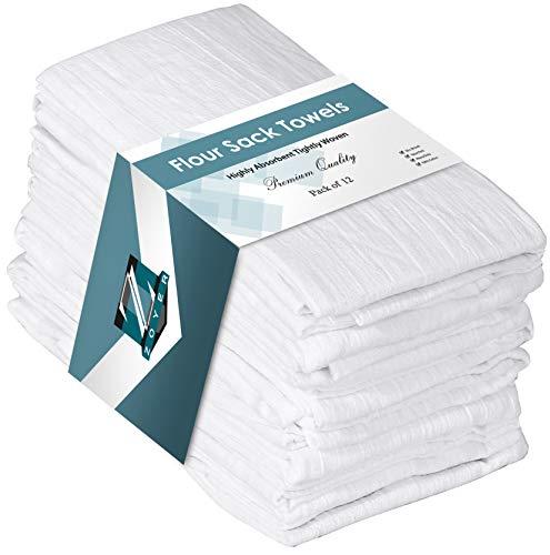 """Flour Sack Towels (12 Pack, 28"""" x 28"""") - 100% Cotton Dish Towels"""