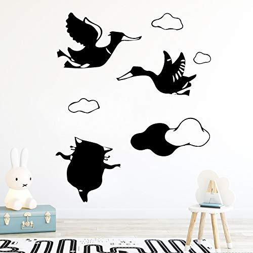 Geschnitzte Katze Und Der Schwan Wandaufkleber Personalisierte Kreative Kunst Wandbild Für Wohnzimmer Schlafzimmer Wohnkultur Tapete Zubehör Gold XL 58 cm X 70 cm