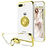 16Jessie Case Compatible with iPhone 8 Plus,Clear Slim TPU Bumper Magnetic Car Mount Case with 360° Ring Kickstand for Apple iPhone 7 Plus (Gold, iPhone 7 Plus)