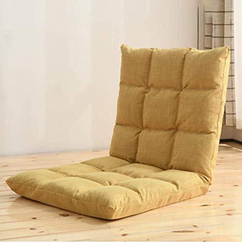 Yxxc Verstellbarer Bodensofastuhl Gaming Chairs, tragbarer Bodenstuhlsitz, Lazy Sofa Gamer Stuhl Liege, zum Lesen Uhr TV Meditieren Gelb 100x50x10cm (39x20x4inch)