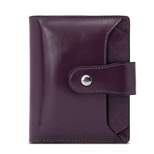 BOSTANTEN - Cartera de piel para mujer, con bloqueo RFID, cartera pequeña con cierre de cremallera, cartera con ventana para identificación
