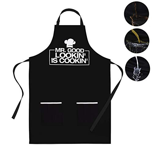 Cooking Apron for Men -Mr. Good Looking is Cooking - BBQ Grill Apron With 2 Pockets Cooking Kitchen Adjustable Bib Aprons for Women Men