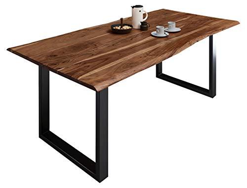 SAM Esszimmertisch 180x90 cm Milo, echte Baumkante, nussbaumfarben, massiver Esstisch aus Akazienholz, Metallbeine Schwarz, Baumkantentisch