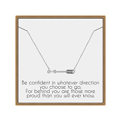 IEFLIFE Graduation Gifts for Her, Sideways Arrow Necklace Graduation Necklace with Inspirational Quote Graduation Jewelry Gifts