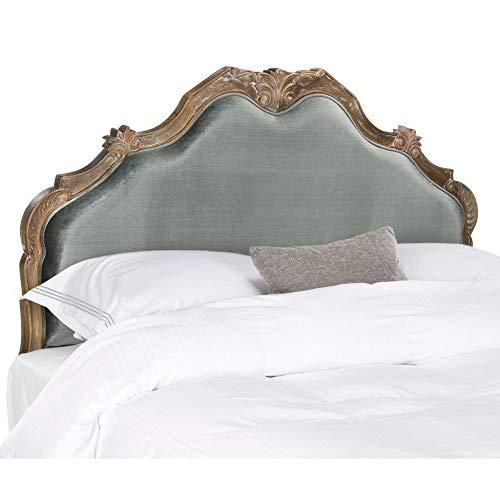 Safavieh Home Harlow Traditional Grey Velvet Headboard, Queen