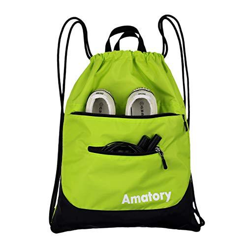 Gym Drawstring Backpack String Bag Men Women Workout Dance Sack Pack Sackpack (Green)