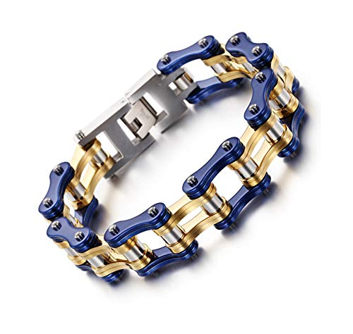 Bishilin Edelstahl Armband Jugendliche Biker Kette Herren Armbänder Blau Gold Partnerarmband 22CM