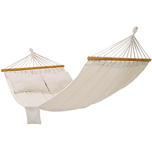 SONGMICS Double Hammock with 2 Pillows, Swing Bed Suitable for 2 Person, 70% Cotton, 210 x 150 cm, Load Capacity 300 kg, Beige GDC22M